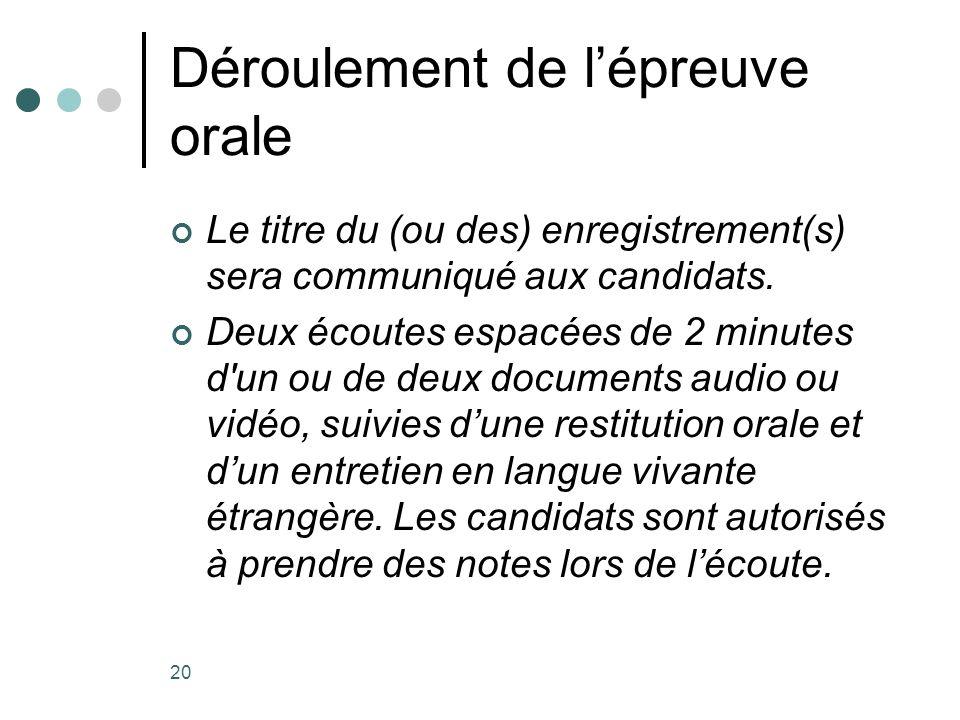 20 Déroulement de lépreuve orale Le titre du (ou des) enregistrement(s) sera communiqué aux candidats. Deux écoutes espacées de 2 minutes d'un ou de d