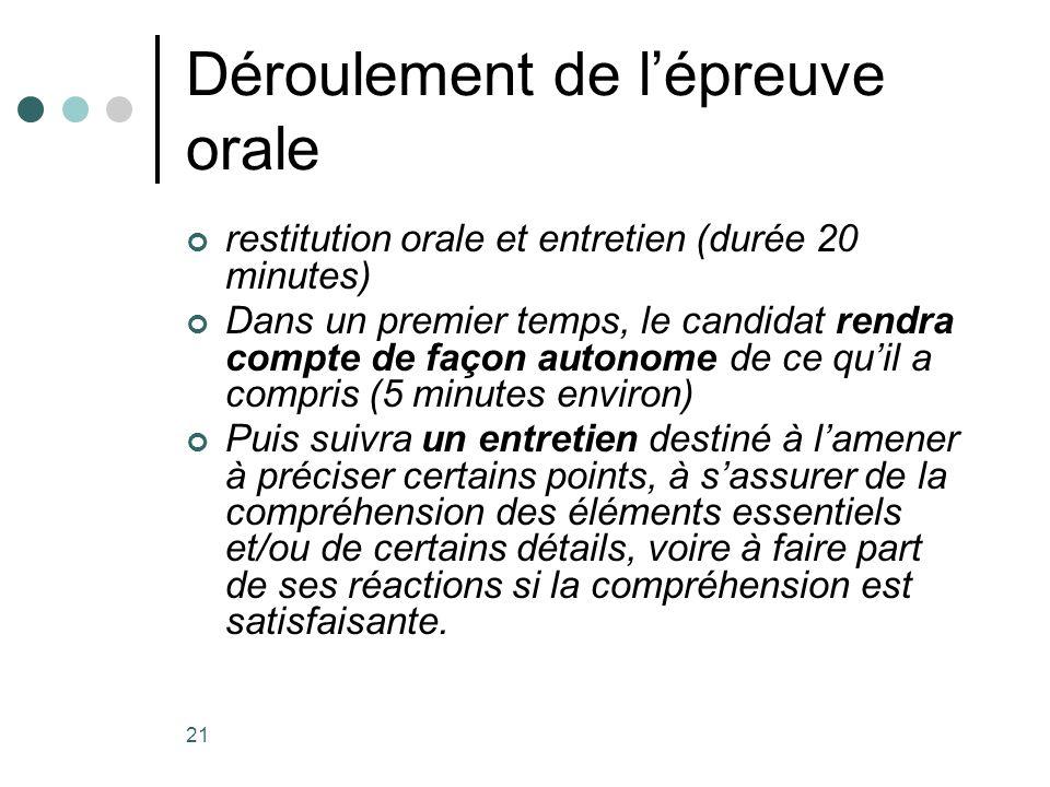 21 Déroulement de lépreuve orale restitution orale et entretien (durée 20 minutes) Dans un premier temps, le candidat rendra compte de façon autonome