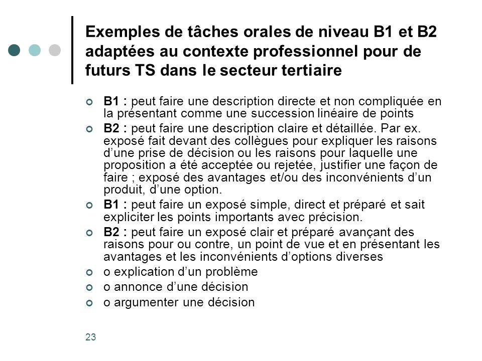 23 Exemples de tâches orales de niveau B1 et B2 adaptées au contexte professionnel pour de futurs TS dans le secteur tertiaire B1 : peut faire une des