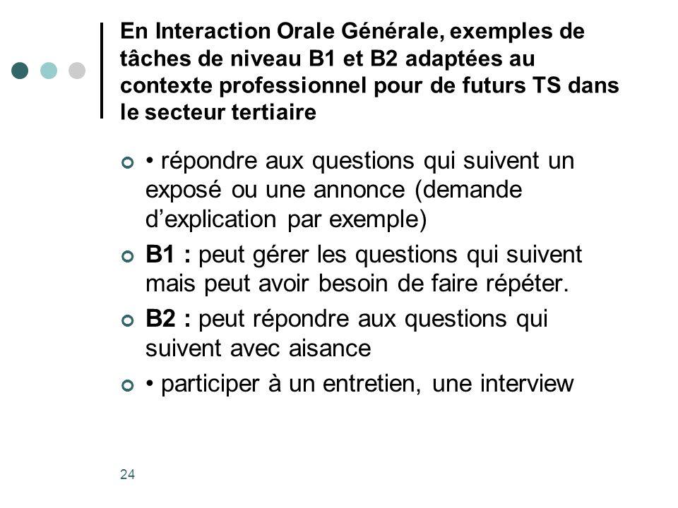 24 En Interaction Orale Générale, exemples de tâches de niveau B1 et B2 adaptées au contexte professionnel pour de futurs TS dans le secteur tertiaire
