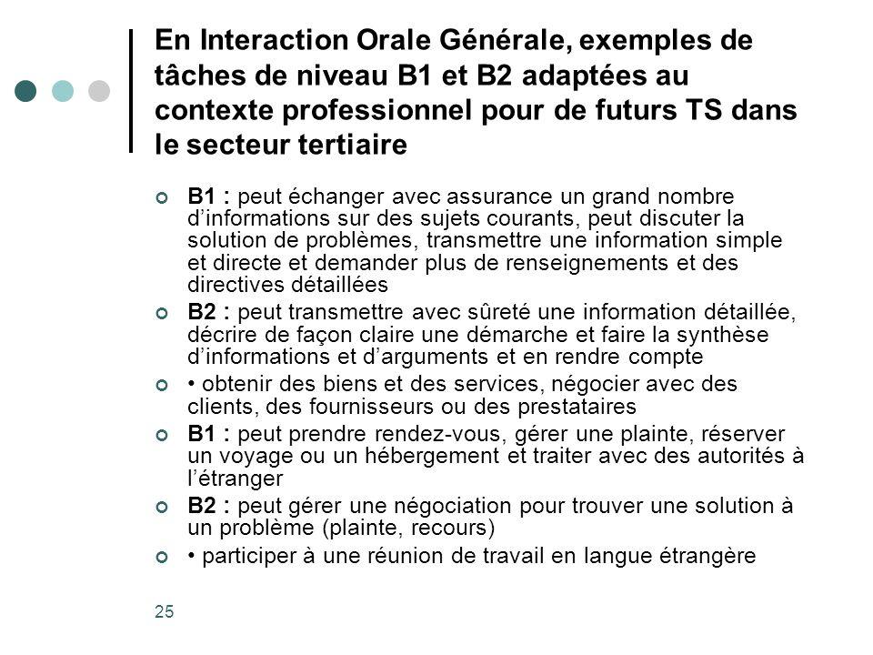 25 En Interaction Orale Générale, exemples de tâches de niveau B1 et B2 adaptées au contexte professionnel pour de futurs TS dans le secteur tertiaire
