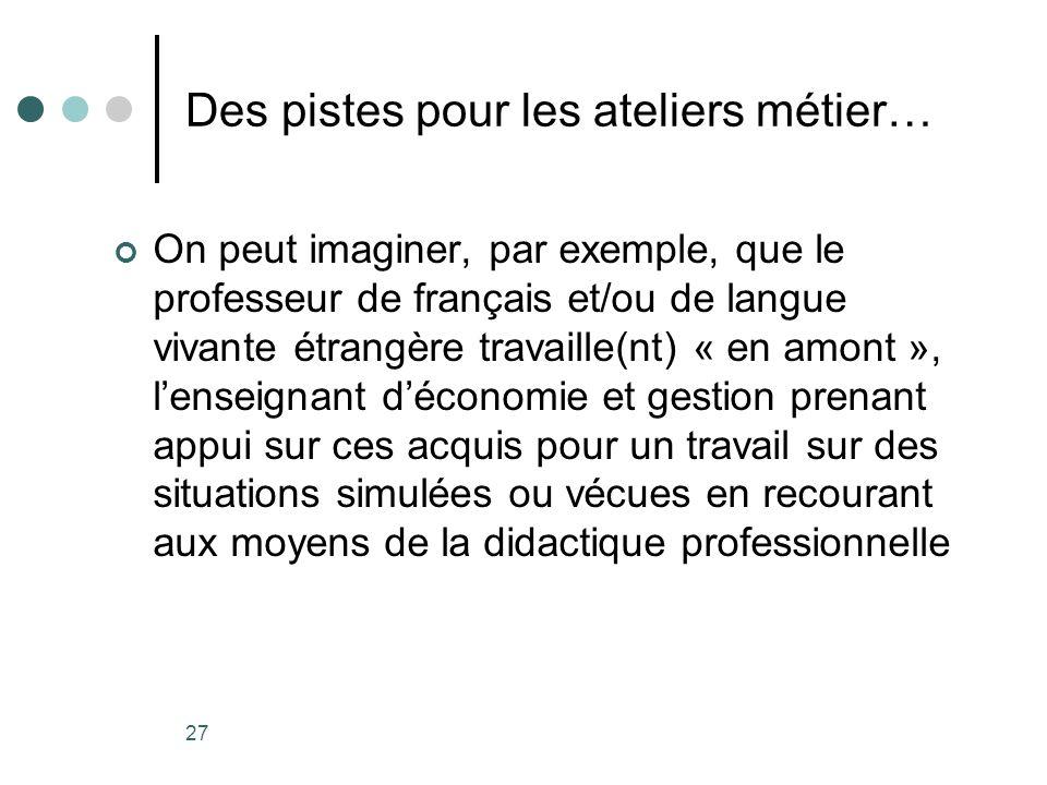 27 Des pistes pour les ateliers métier… On peut imaginer, par exemple, que le professeur de français et/ou de langue vivante étrangère travaille(nt) «