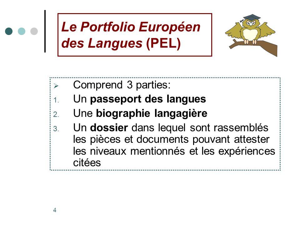 4 Le Portfolio Européen des Langues (PEL) Comprend 3 parties: 1. Un passeport des langues 2. Une biographie langagière 3. Un dossier dans lequel sont