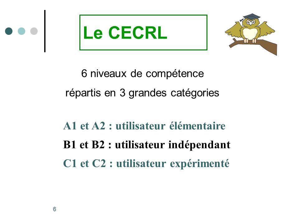 6 A1 et A2 : utilisateur élémentaire B1 et B2 : utilisateur indépendant C1 et C2 : utilisateur expérimenté Le CECRL 6 niveaux de compétence répartis e