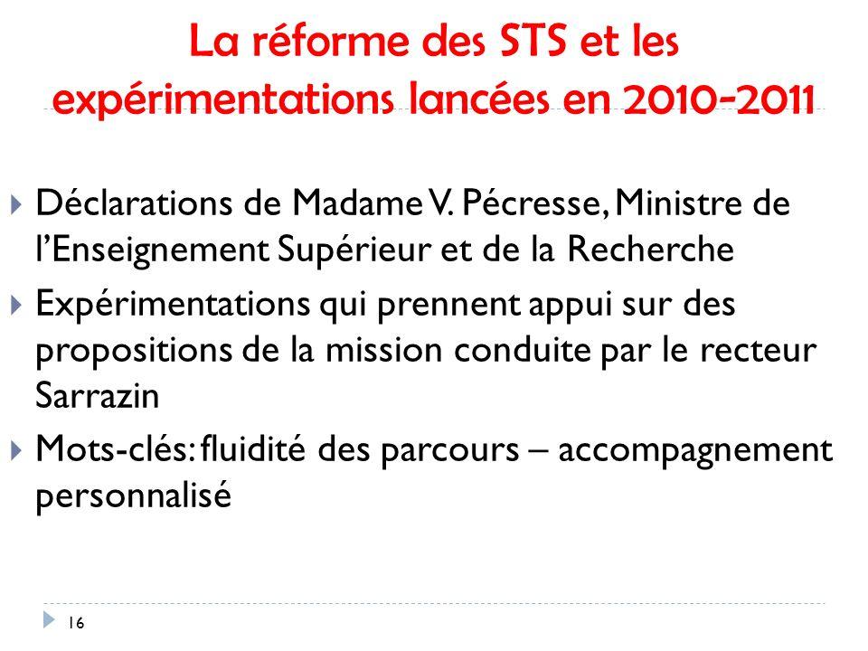 16 La réforme des STS et les expérimentations lancées en 2010-2011 Déclarations de Madame V.