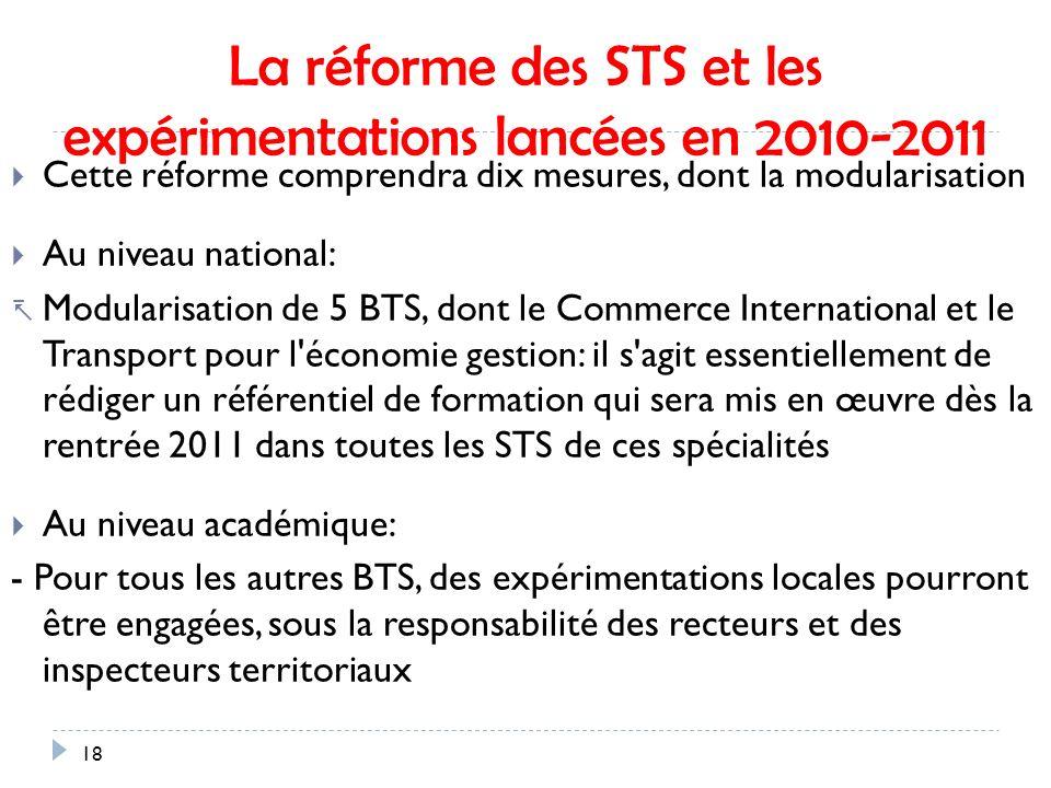 La réforme des STS et les expérimentations lancées en 2010-2011 Cette réforme comprendra dix mesures, dont la modularisation Au niveau national: Modularisation de 5 BTS, dont le Commerce International et le Transport pour l économie gestion: il s agit essentiellement de rédiger un référentiel de formation qui sera mis en œuvre dès la rentrée 2011 dans toutes les STS de ces spécialités Au niveau académique: - Pour tous les autres BTS, des expérimentations locales pourront être engagées, sous la responsabilité des recteurs et des inspecteurs territoriaux 18