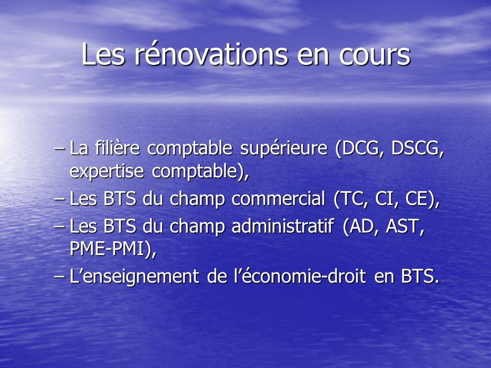 Les rénovations en cours –L–L–L–La filière comptable supérieure (DCG, DSCG, expertise comptable), –L–L–L–Les BTS du champ commercial (TC, CI, CE), –L–