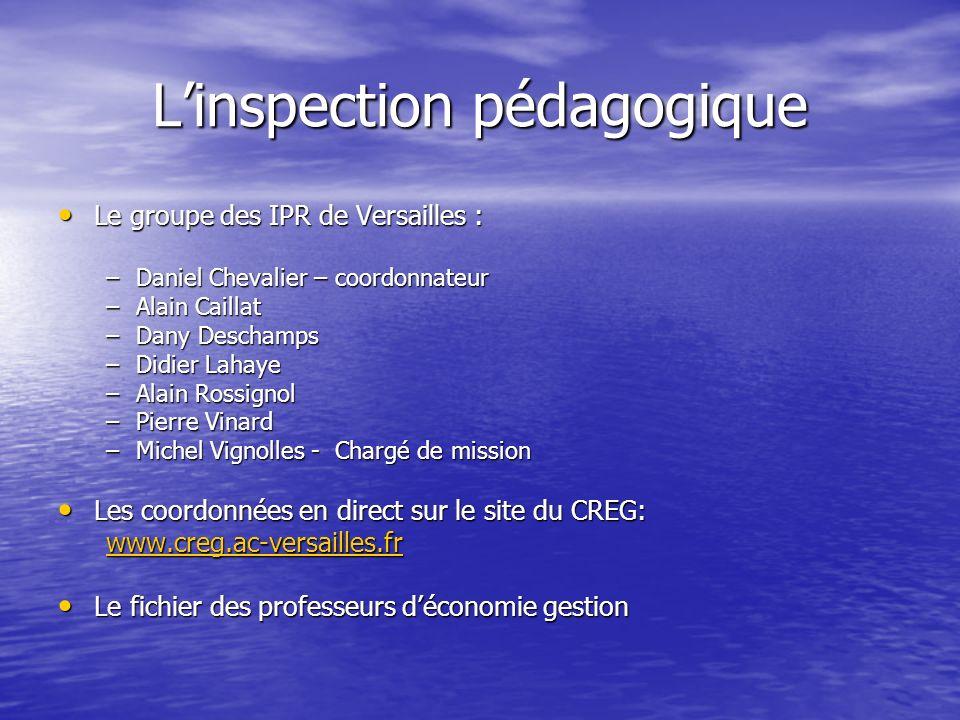 Linspection pédagogique Le groupe des IPR de Versailles : Le groupe des IPR de Versailles : –Daniel Chevalier – coordonnateur –Alain Caillat –Dany Des