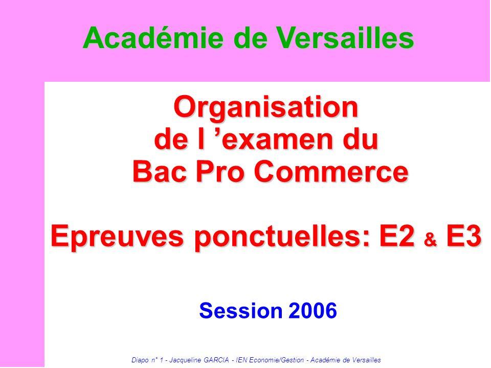 Diapo n° 1 - Jacqueline GARCIA - IEN Economie/Gestion - Académie de Versailles Organisation de l examen du Bac Pro Commerce Epreuves ponctuelles: E2 &