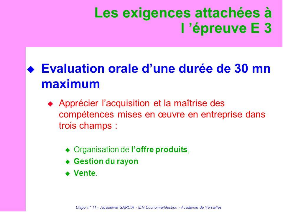 Diapo n° 11 - Jacqueline GARCIA - IEN Economie/Gestion - Académie de Versailles Les exigences attachées à l épreuve E 3 Evaluation orale dune durée de