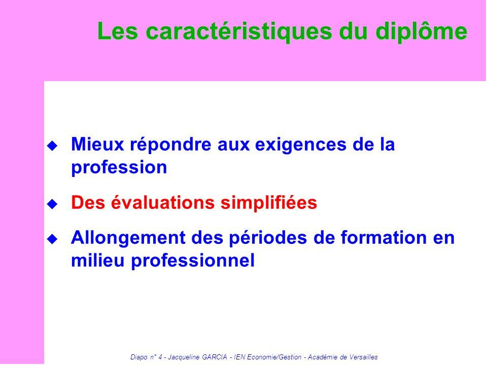 Diapo n° 4 - Jacqueline GARCIA - IEN Economie/Gestion - Académie de Versailles Les caractéristiques du diplôme Mieux répondre aux exigences de la prof
