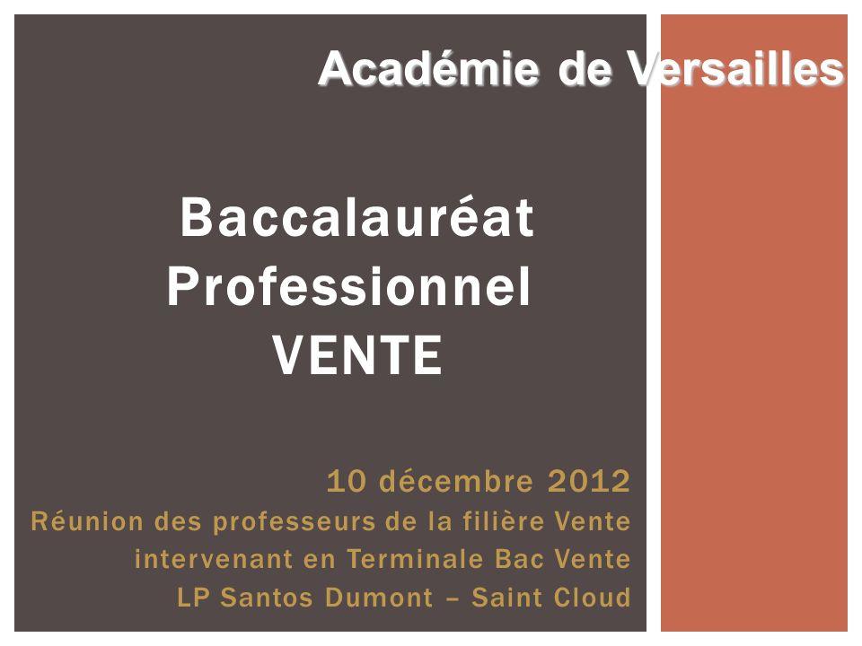 Baccalauréat Professionnel VENTE 10 décembre 2012 Réunion des professeurs de la filière Vente intervenant en Terminale Bac Vente LP Santos Dumont – Sa