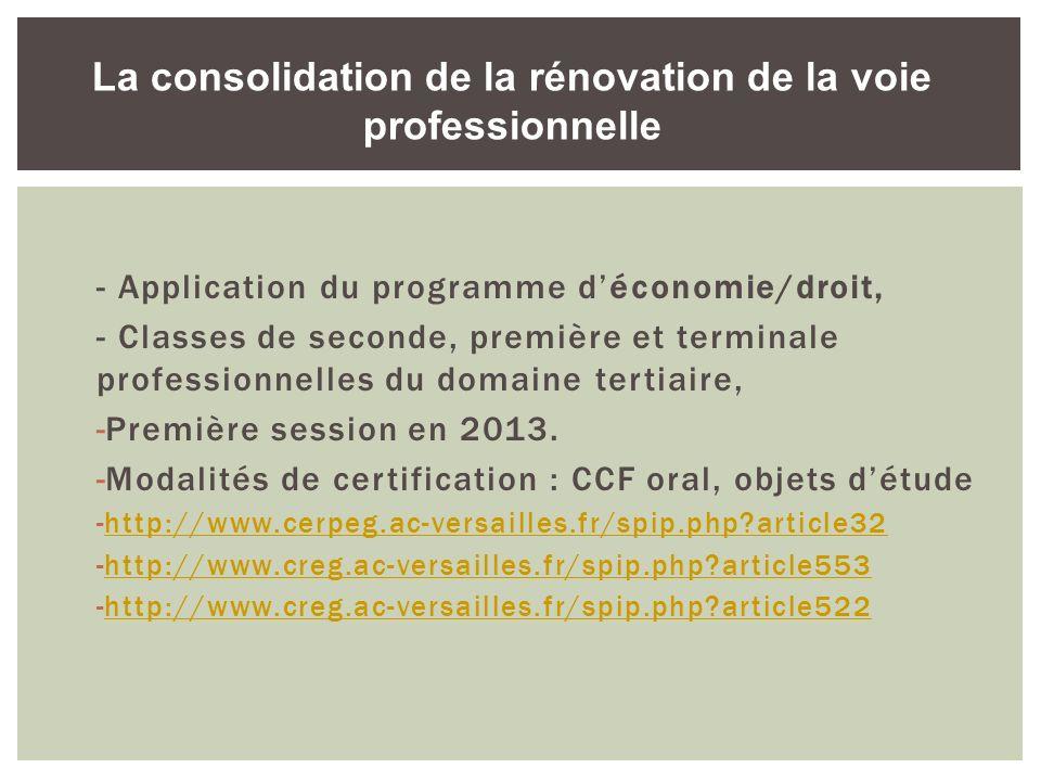 - Application du programme déconomie/droit, - Classes de seconde, première et terminale professionnelles du domaine tertiaire, -Première session en 20