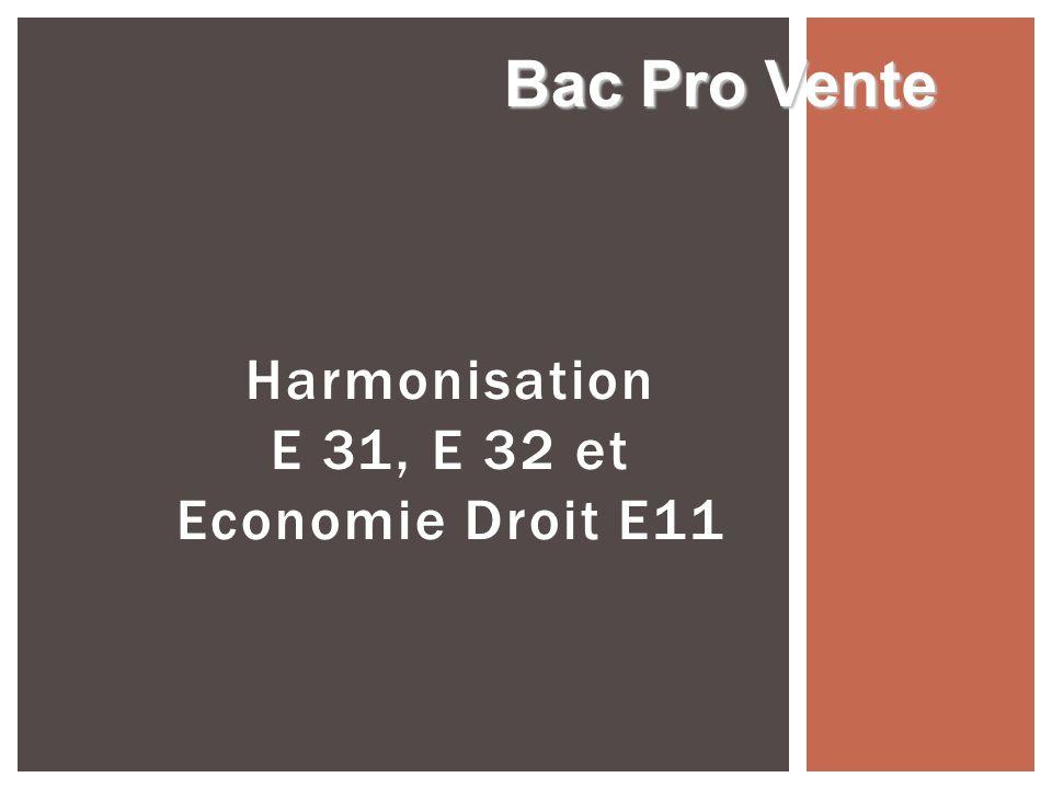Harmonisation E 31, E 32 et Economie Droit E11 Bac Pro Vente