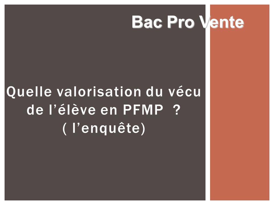 Quelle valorisation du vécu de lélève en PFMP ? ( lenquête) Bac Pro Vente