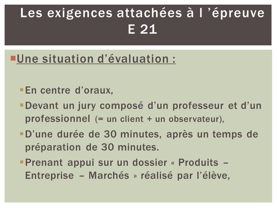 Les exigences attachées à l épreuve E 21 Une situation dévaluation : En centre doraux, Devant un jury composé dun professeur et dun professionnel (= u