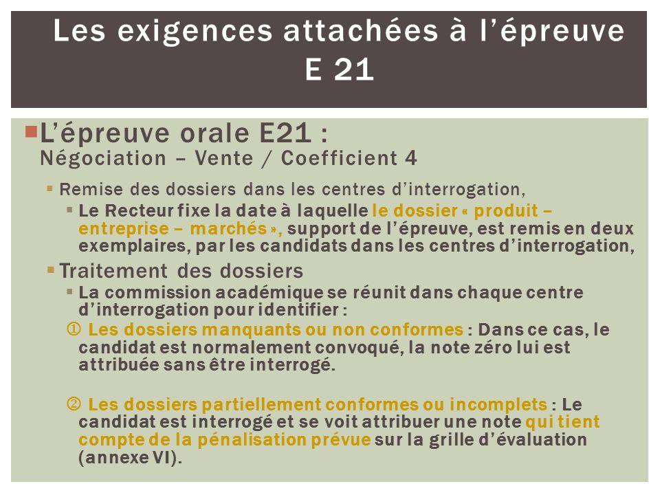 Les exigences attachées à lépreuve E 21 Lépreuve orale E21 : Négociation – Vente / Coefficient 4 Remise des dossiers dans les centres dinterrogation,