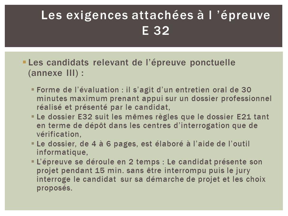 Les exigences attachées à l épreuve E 32 Les candidats relevant de lépreuve ponctuelle (annexe III) : Forme de lévaluation : il sagit dun entretien or