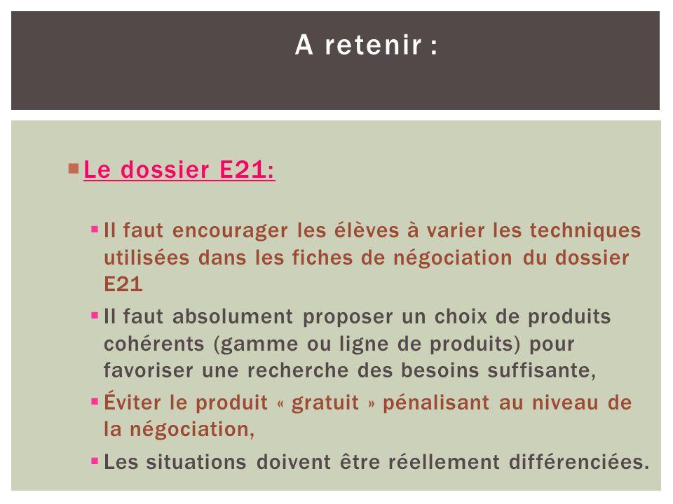 A retenir : Le dossier E21: Il faut encourager les élèves à varier les techniques utilisées dans les fiches de négociation du dossier E21 Il faut abso