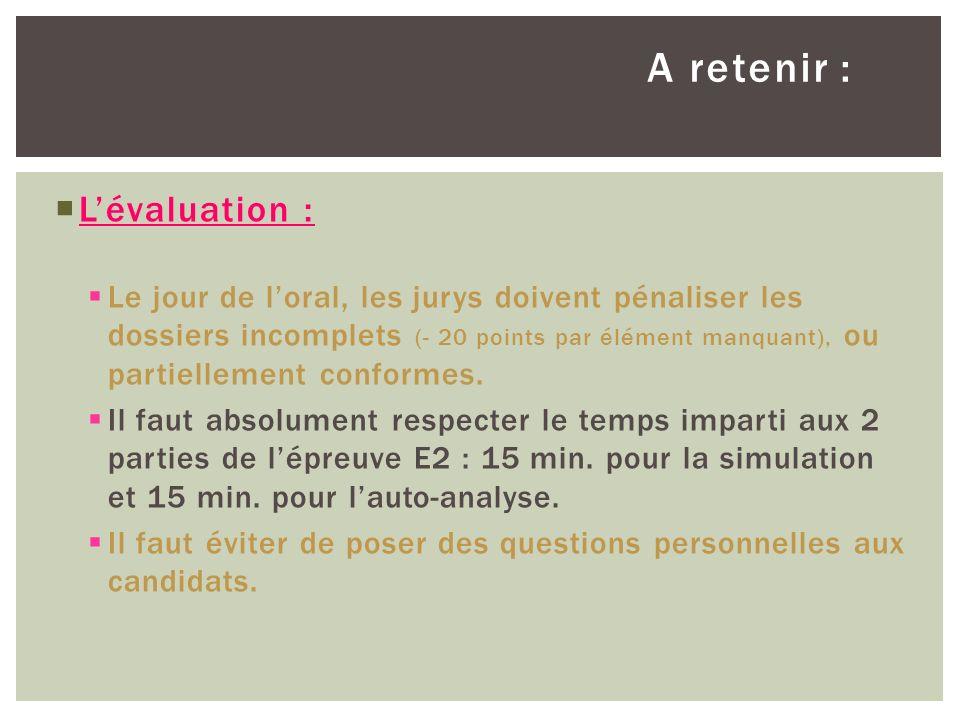 A retenir : Lévaluation : Le jour de loral, les jurys doivent pénaliser les dossiers incomplets (- 20 points par élément manquant), ou partiellement c