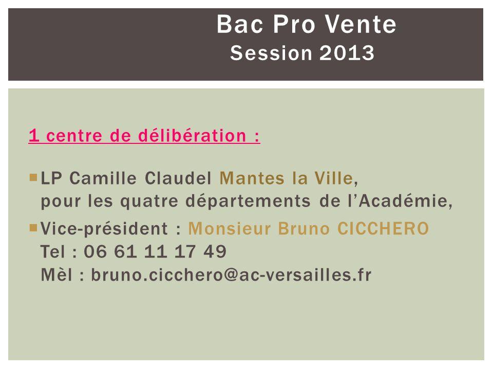 Bac Pro Vente Session 2013 1 centre de délibération : LP Camille Claudel Mantes la Ville, pour les quatre départements de lAcadémie, Vice-président :