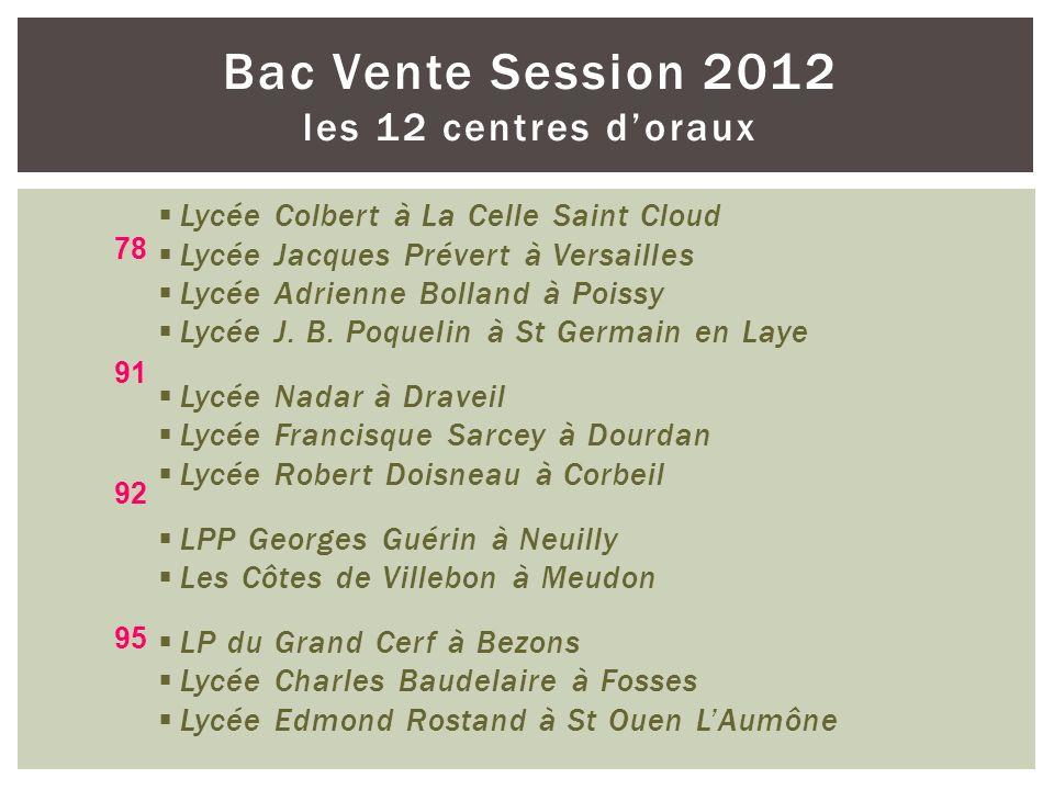 Bac Vente Session 2012 les 12 centres doraux Lycée Colbert à La Celle Saint Cloud Lycée Jacques Prévert à Versailles Lycée Adrienne Bolland à Poissy L