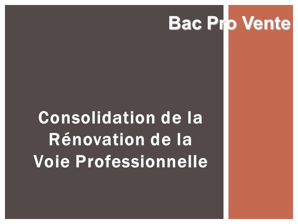 Consolidation de la Rénovation de la Voie Professionnelle Bac Pro Vente