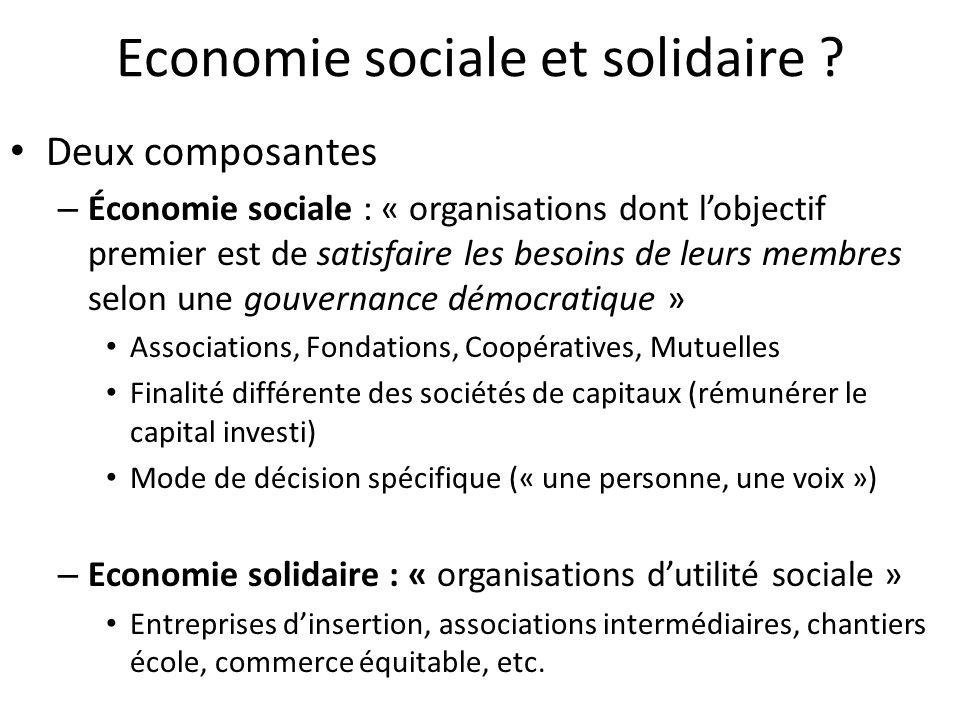 Economie sociale et solidaire ? Deux composantes – Économie sociale : « organisations dont lobjectif premier est de satisfaire les besoins de leurs me