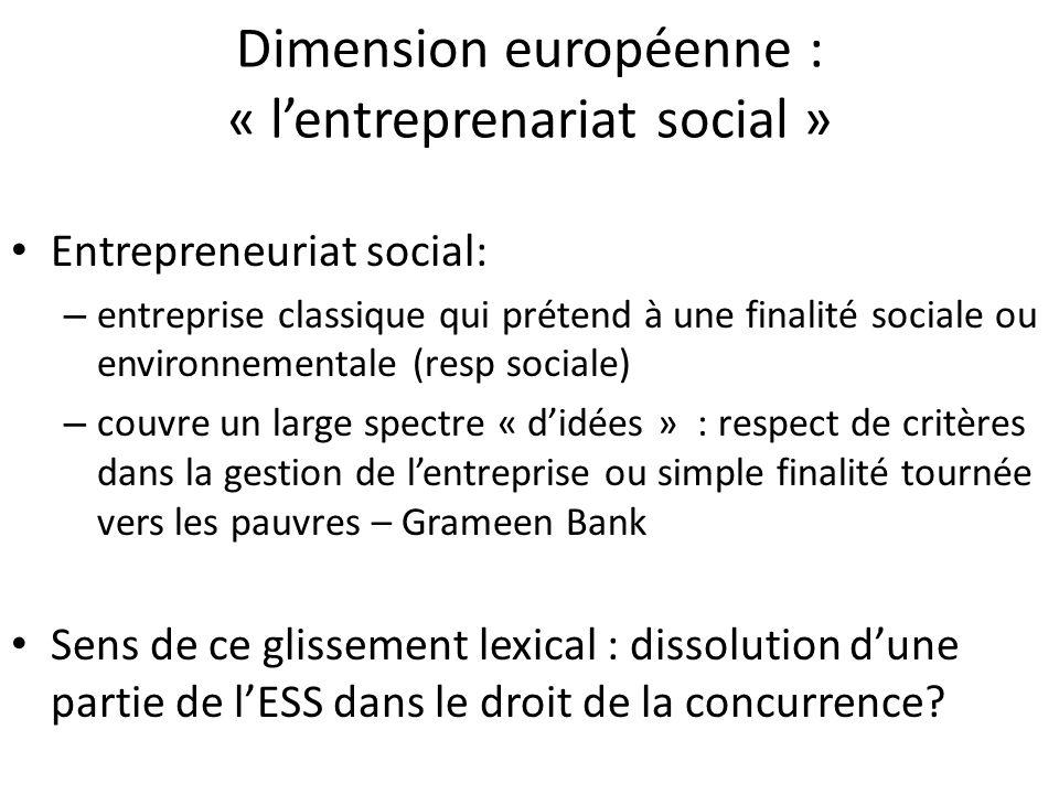 Dimension européenne : « lentreprenariat social » Entrepreneuriat social: – entreprise classique qui prétend à une finalité sociale ou environnemental