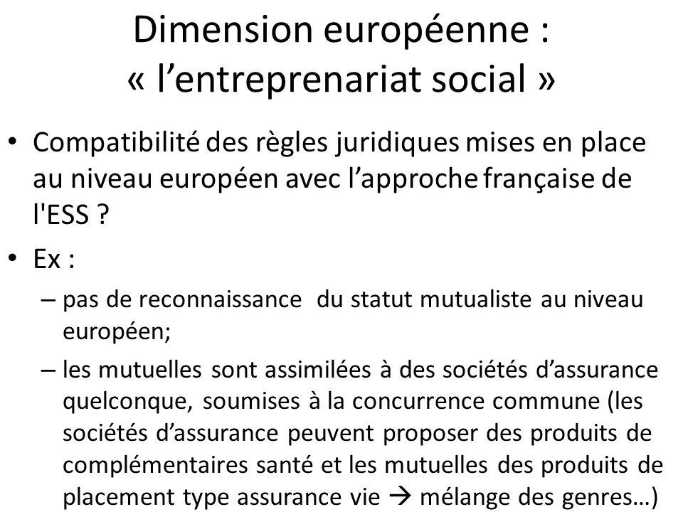 Dimension européenne : « lentreprenariat social » Compatibilité des règles juridiques mises en place au niveau européen avec lapproche française de l'