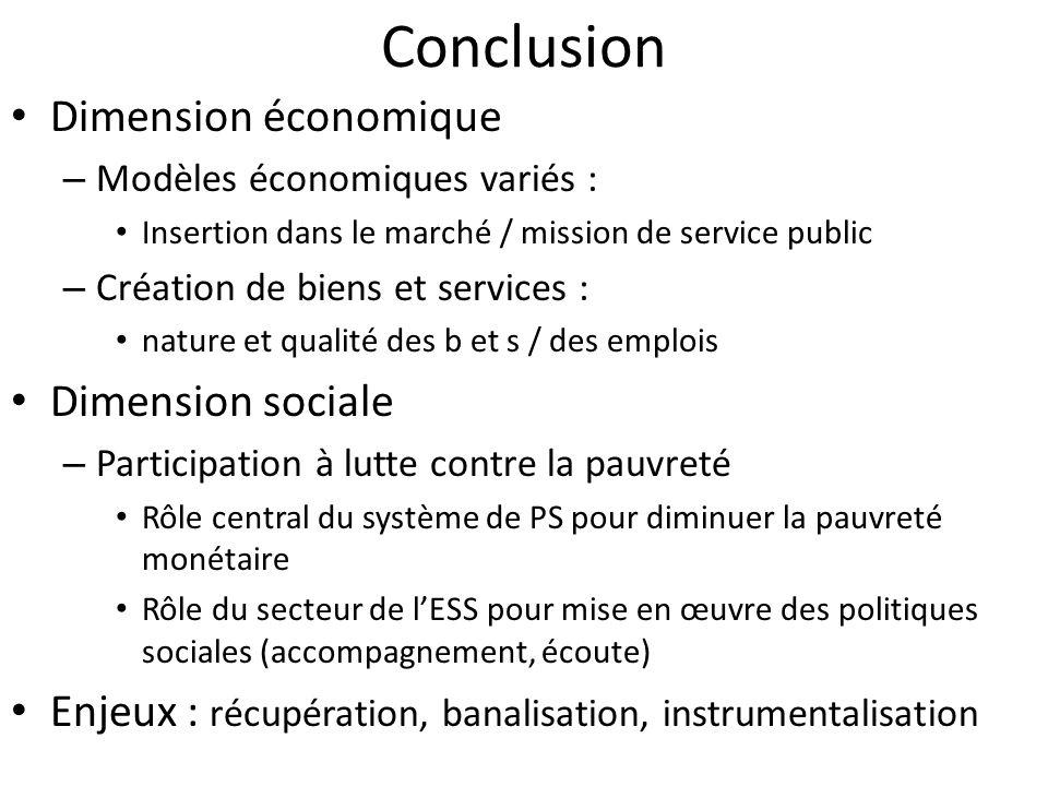 Conclusion Dimension économique – Modèles économiques variés : Insertion dans le marché / mission de service public – Création de biens et services :
