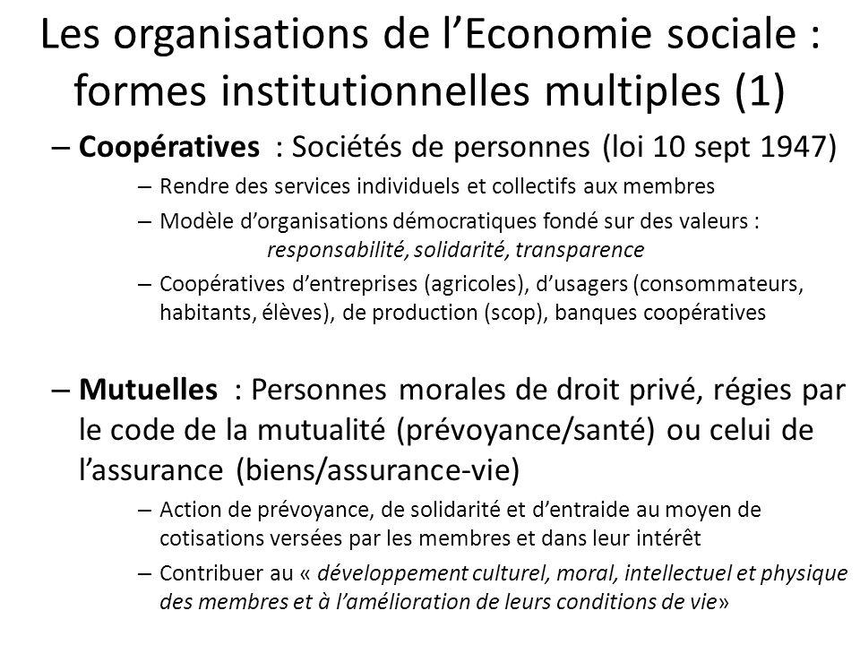 Les organisations de lEconomie sociale : formes institutionnelles multiples (1) – Coopératives : Sociétés de personnes (loi 10 sept 1947) – Rendre des