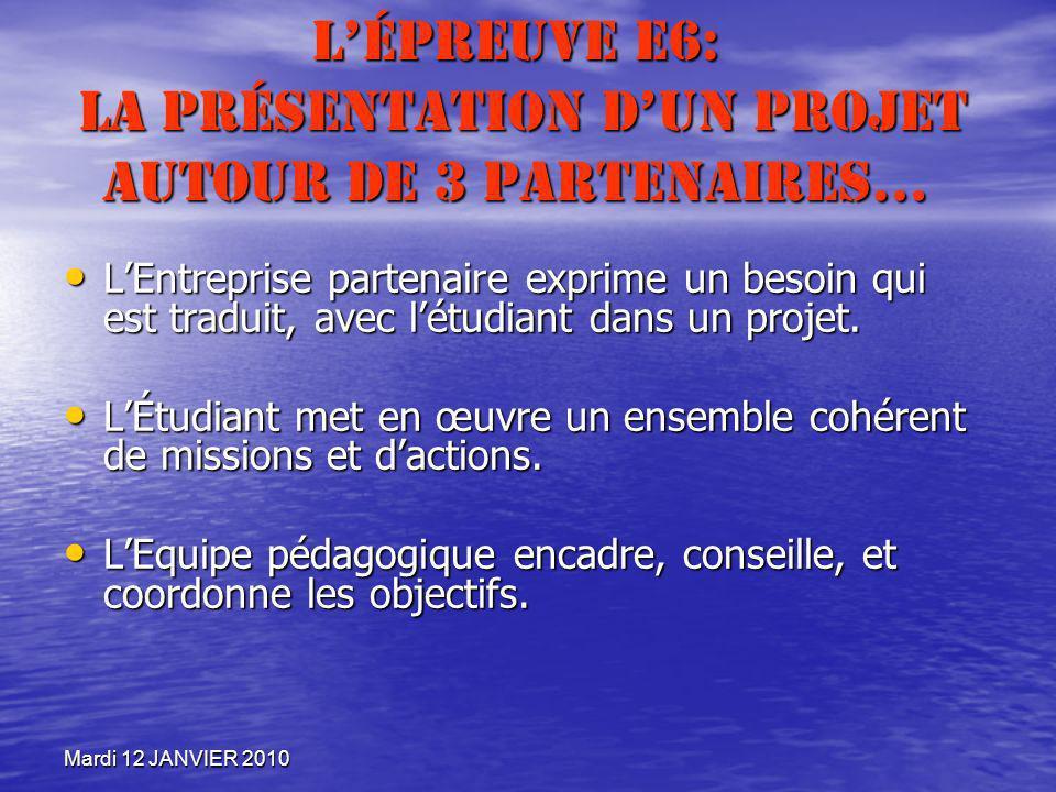 Mardi 12 JANVIER 2010 Lépreuve E6: La présentation dun projet autour de 3 partenaires… LEntreprise partenaire exprime un besoin qui est traduit, avec