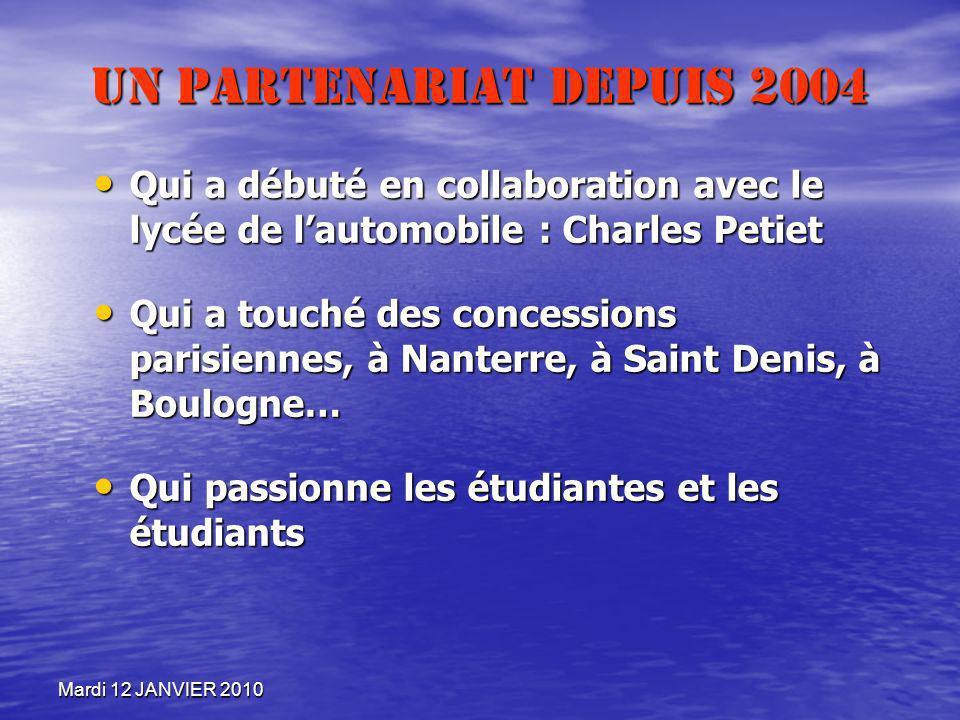 Mardi 12 JANVIER 2010 Un partenariat depuis 2004 Qui a débuté en collaboration avec le lycée de lautomobile : Charles Petiet Qui a débuté en collabora