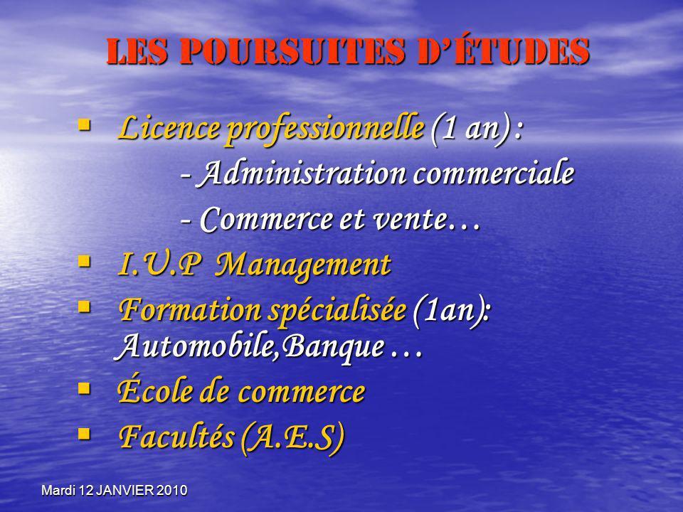 Mardi 12 JANVIER 2010 Les Poursuites détudes Licence professionnelle (1 an) : Licence professionnelle (1 an) : - Administration commerciale - Commerce