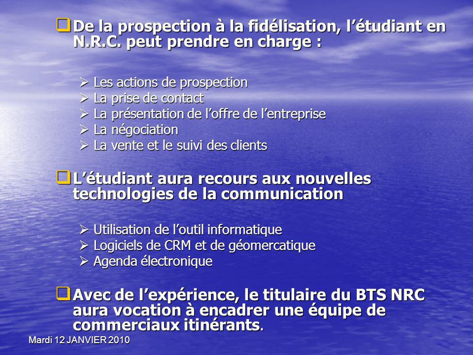 Mardi 12 JANVIER 2010 De la prospection à la fidélisation, létudiant en N.R.C. peut prendre en charge : De la prospection à la fidélisation, létudiant