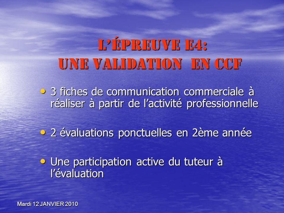 Mardi 12 JANVIER 2010 LÉpreuve E4: Une validation en CCF LÉpreuve E4: Une validation en CCF 3 fiches de communication commerciale à réaliser à partir