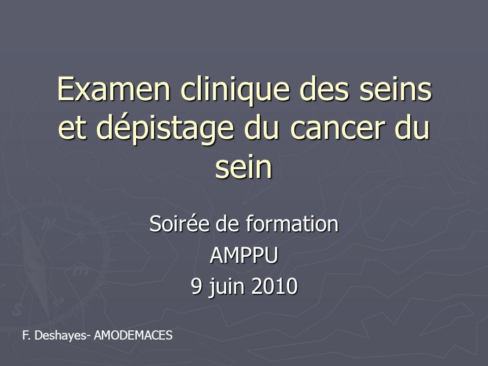 Examen clinique des seins et dépistage du cancer du sein Soirée de formation AMPPU 9 juin 2010 F. Deshayes- AMODEMACES