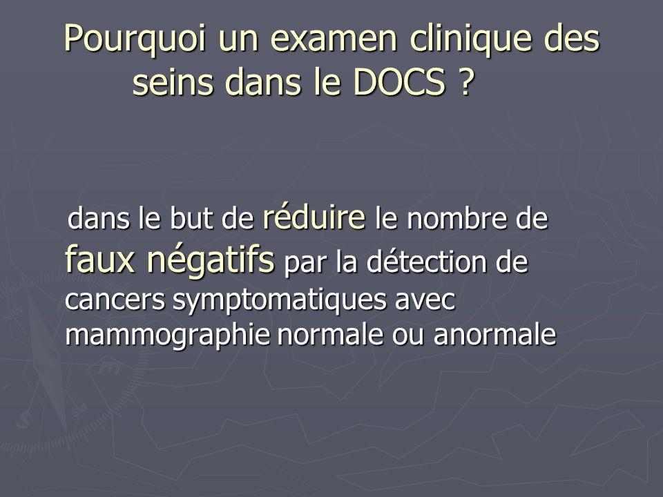 Pourquoi un examen clinique des seins dans le DOCS ? dans le but de réduire le nombre de faux négatifs par la détection de cancers symptomatiques avec