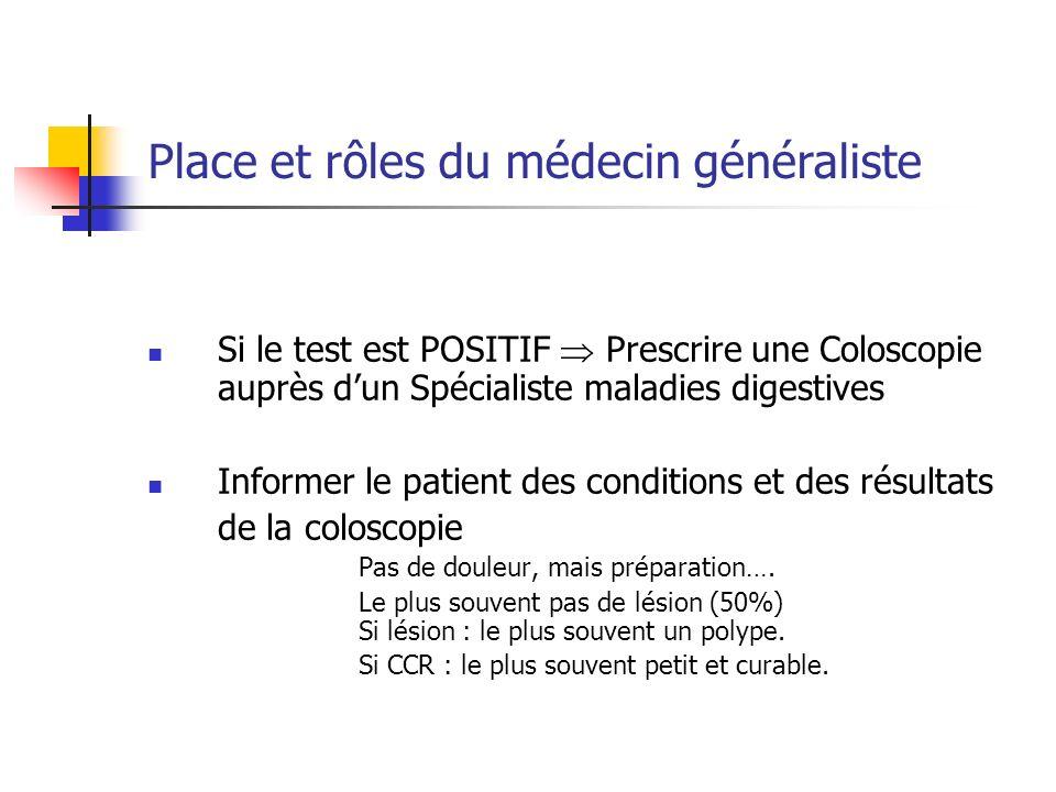 Si le test est POSITIF Prescrire une Coloscopie auprès dun Spécialiste maladies digestives Informer le patient des conditions et des résultats de la c