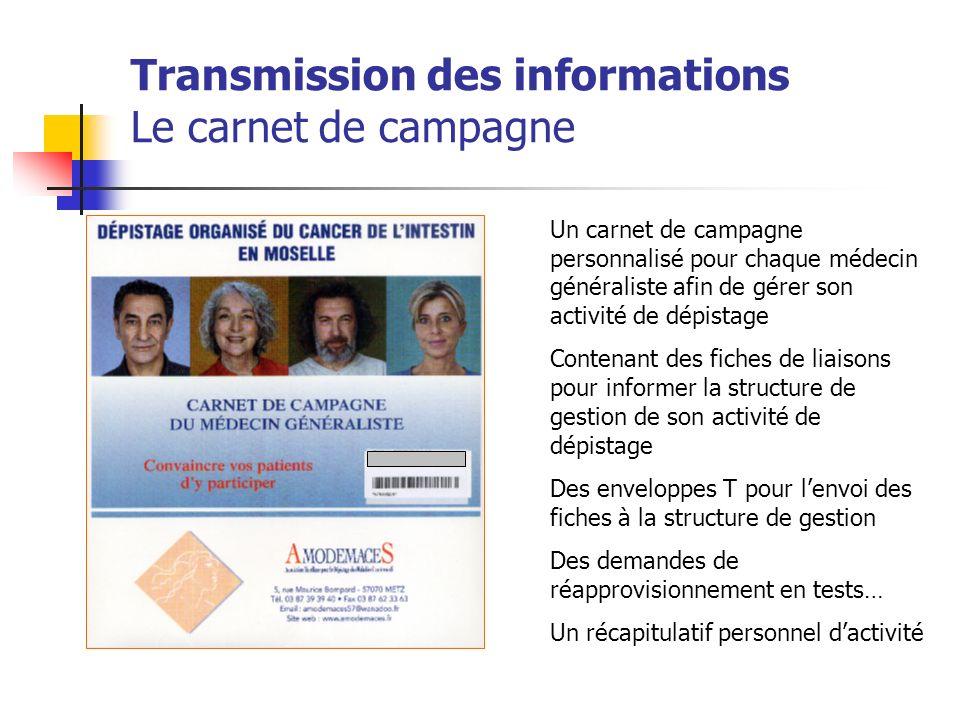 Transmission des informations Le carnet de campagne Un carnet de campagne personnalisé pour chaque médecin généraliste afin de gérer son activité de d
