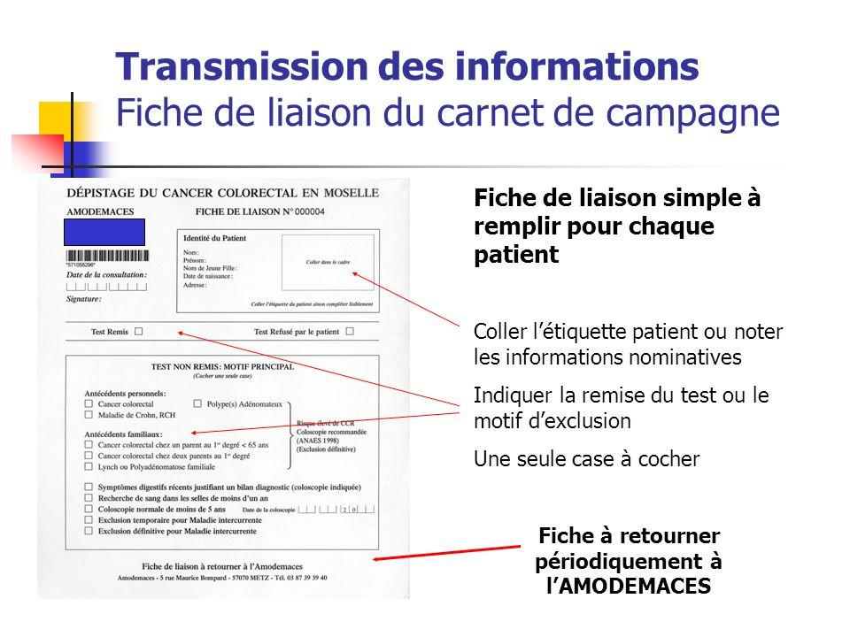 Transmission des informations Fiche de liaison du carnet de campagne Fiche de liaison simple à remplir pour chaque patient Coller létiquette patient o