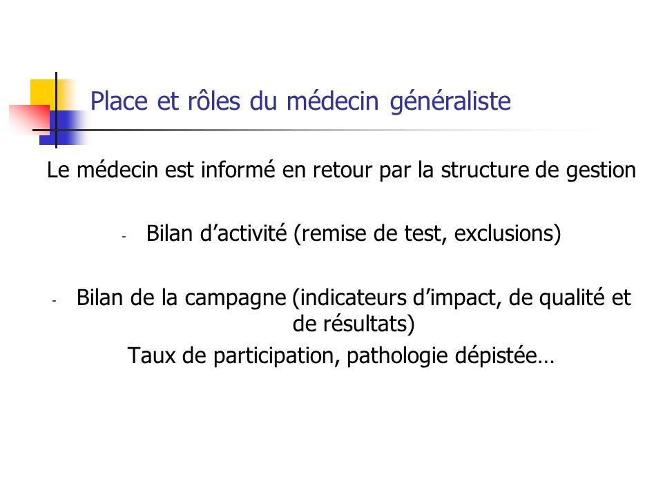 Le médecin est informé en retour par la structure de gestion - Bilan dactivité (remise de test, exclusions) - Bilan de la campagne (indicateurs dimpac