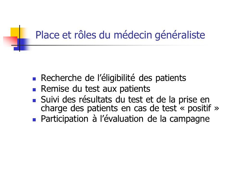 Place et rôles du médecin généraliste Recherche de léligibilité des patients Remise du test aux patients Suivi des résultats du test et de la prise en