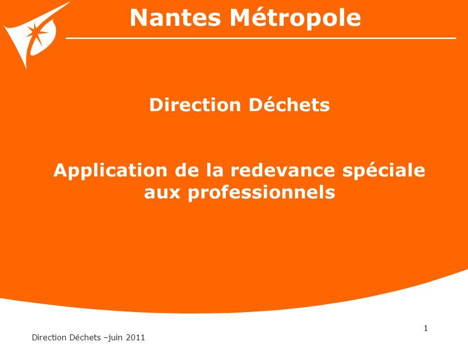 1 Direction Déchets –juin 2011 Nantes Métropole Direction Déchets Application de la redevance spéciale aux professionnels