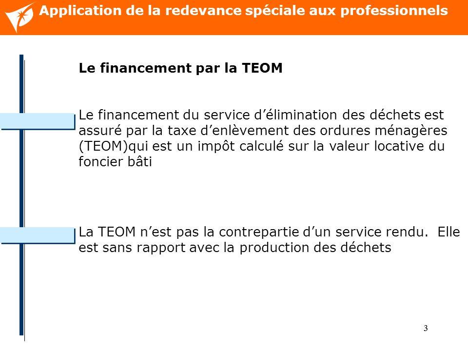 33 Application de la redevance spéciale aux professionnels Le financement par la TEOM Le financement du service délimination des déchets est assuré par la taxe denlèvement des ordures ménagères (TEOM)qui est un impôt calculé sur la valeur locative du foncier bâti La TEOM nest pas la contrepartie dun service rendu.