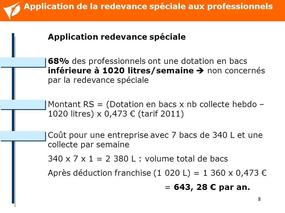 88 Application de la redevance spéciale aux professionnels Application redevance spéciale 68% des professionnels ont une dotation en bacs inférieure à 1020 litres/semaine non concernés par la redevance spéciale Montant RS = (Dotation en bacs x nb collecte hebdo – 1020 litres) x 0,473 (tarif 2011) Coût pour une entreprise avec 7 bacs de 340 L et une collecte par semaine 340 x 7 x 1 = 2 380 L : volume total de bacs Après déduction franchise (1 020 L) = 1 360 x 0,473 = 643, 28 par an.