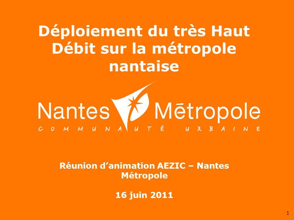 1 Réunion danimation AEZIC – Nantes Métropole 16 juin 2011 Déploiement du très Haut Débit sur la métropole nantaise