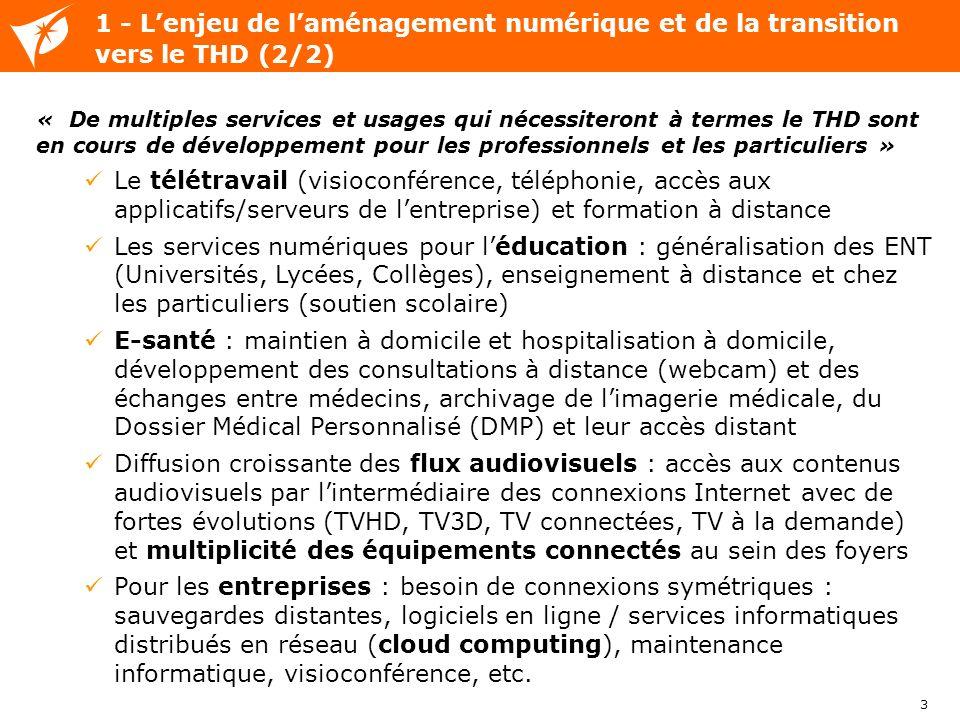 3 « De multiples services et usages qui nécessiteront à termes le THD sont en cours de développement pour les professionnels et les particuliers » Le