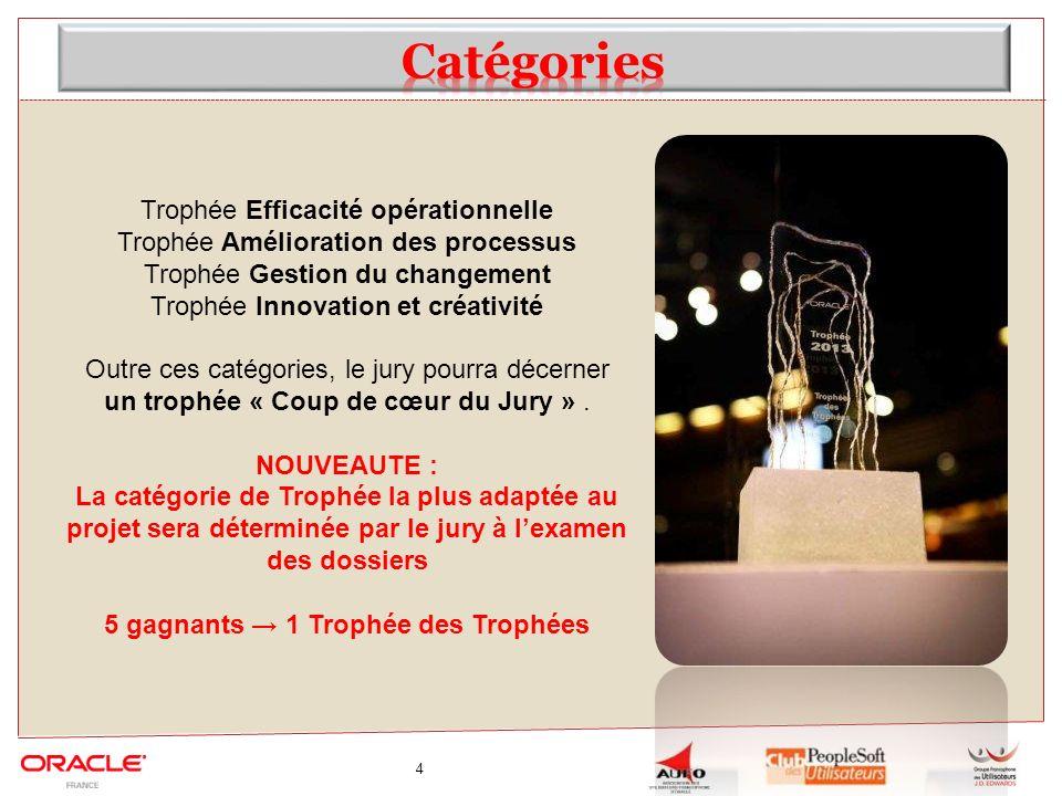 4 Trophée Efficacité opérationnelle Trophée Amélioration des processus Trophée Gestion du changement Trophée Innovation et créativité Outre ces catégo